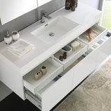 "Fresca Mezzo 60"" White Wall Hung Single Sink Modern Bathroom Vanity w/ Medicine Cabinet"
