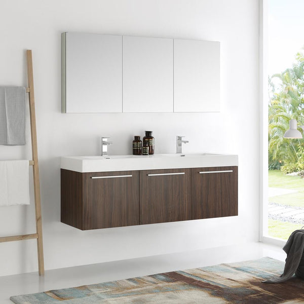 "Fresca Vista 60"" Walnut Wall Hung Double Sink Modern Bathroom Vanity w/ Medicine Cabinet"
