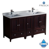 "Fresca Oxford 60"" Traditional Double Sink Bathroom Cabinets w/ Top & Sinks"