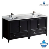 "Fresca Oxford 72"" Traditional Double Sink Bathroom Cabinets w/ Top & Sinks"