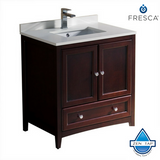 "Fresca Oxford 30"" Traditional Bathroom Cabinet w/ Top & Sink"