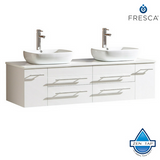 Fresca Bellezza Modern Double Vessel Sink Cabinet w/ Top & Sinks
