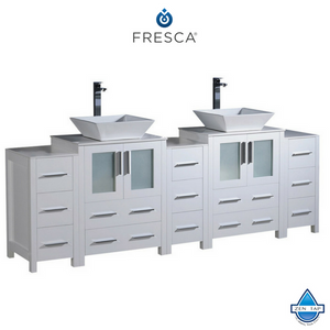 "Fresca Torino 84"" Espresso Modern Double Sink Bathroom Cabinets w/ Tops & Vessel & Integrated Sinks"