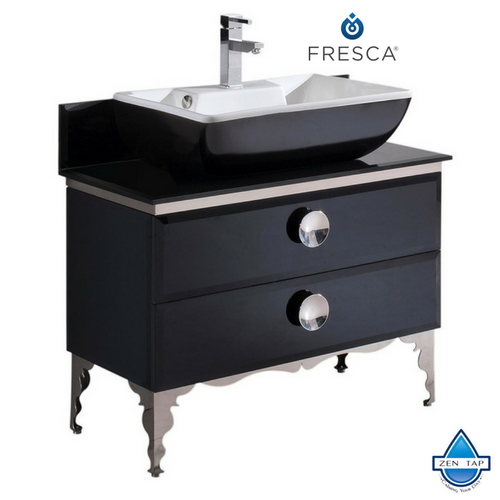 Fresca Moselle Modern Glass Bathroom Cabinet w/ Top & Vessel Sink