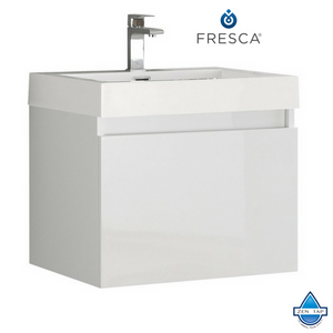Fresca Nano Black Modern Bathroom Cabinet w/ Integrated Sink