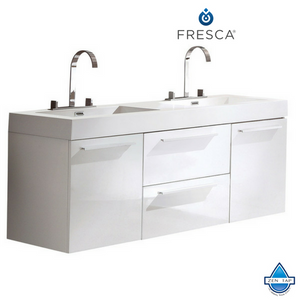 Fresca Opulento Modern Double Sink Bathroom Cabinet w/ Integrated Sinks