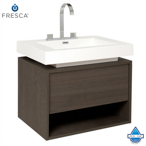 Fresca Potenza Gray Oak Modern Bathroom Cabinet w/ Vessel Sink