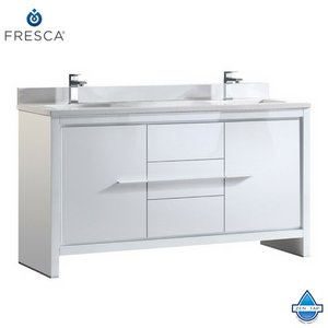 "Fresca Allier 60"" Modern Double Sink Bathroom Cabinet w/ Top & Sinks"