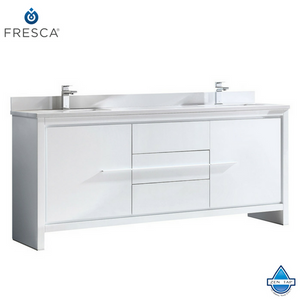 "Fresca Allier 72"" Modern Double Sink Bathroom Cabinet w/ Top & Sinks"