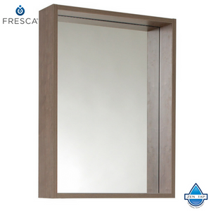 "Fresca Potenza 21"" Gray Oak Mirror with Shelf"