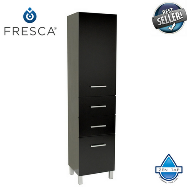 Fresca Espresso Bathroom Linen Side Cabinet w/ 3 Pull Out Drawers