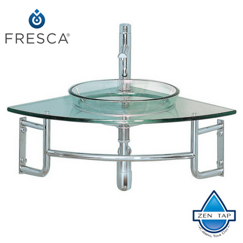 "Fresca Ordinato 24"" Corner Mount Modern Glass Bathroom Vanity"