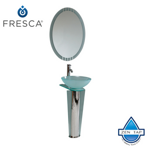 "Fresca Vitale 17"" Modern Glass Bathroom Vanity w/ Mirror"