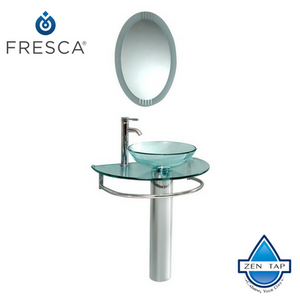 "Fresca Attrazione 30"" Modern Glass Bathroom Vanity w/ Frosted Edge Mirror"