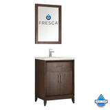 "Fresca Cambridge 24"" Antique Coffee Traditional Bathroom Vanity w/ Mirror"