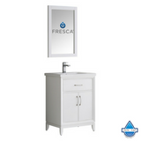 "Fresca Cambridge 24"" White Traditional Bathroom Vanity w/ Mirror"