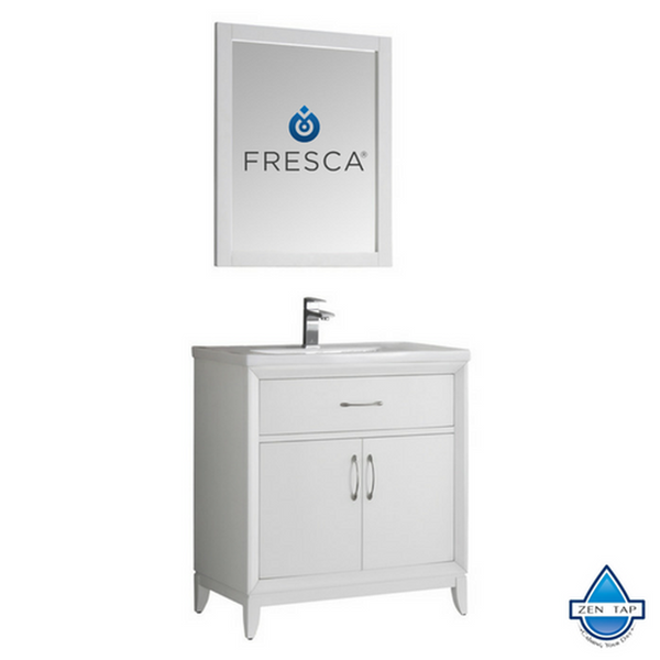 "Fresca Cambridge 30"" White Traditional Bathroom Vanity w/ Mirror"