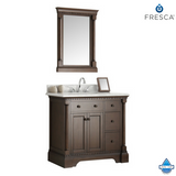 "Fresca Kingston 36"" Antique Coffee Traditional Bathroom Vanity w/ Mirror"