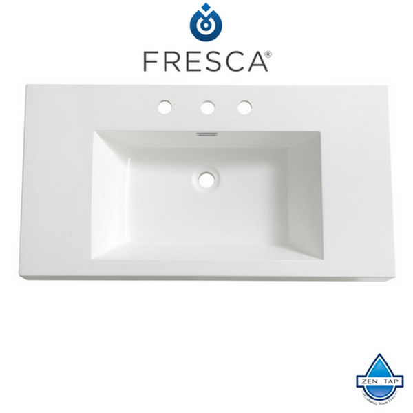 "Fresca Vista 36"" White Integrated Sink / Countertop"