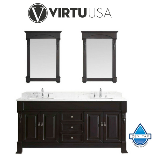 "Huntshire 72"" Double Bathroom Vanity in Dark Walnut with Marble Top and Square Sink with Mirrors"