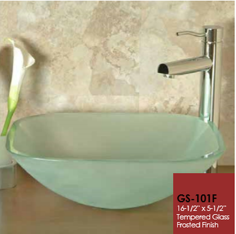 Buy Cantrio Koncepts GS-101F Tempered Glass square vessel sink - Frosted - Zen Tap Sinks