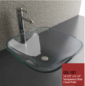 Buy Cantrio Koncepts GS-101 Tempered Glass Square Vessel Sink - Clear - Zen Tap Sinks