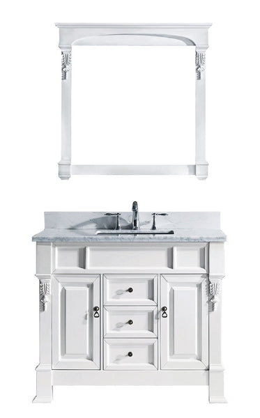 Huntshire 40″ Single Bathroom Vanity in White with Marble Top and Square Sink with Mirror
