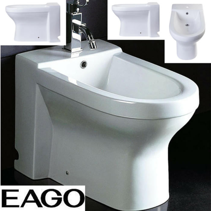 EAGO JA1010 White Ceramic Bathroom Bidet with Elongated Seat