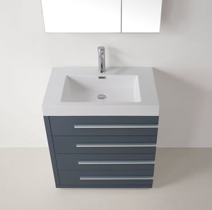 Bailey 30″ Single Bathroom Vanity in Grey with White Polymarble Top Square Sink and Polished Chrome Faucet with Mirror