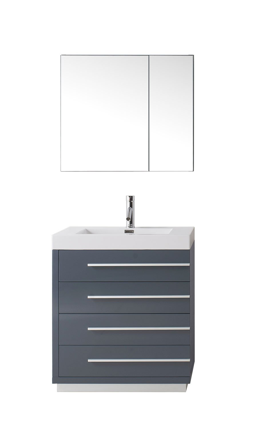 Bailey 30″ Single Bathroom Vanity in Grey with White Polymarble Top Square Sink and Brushed Nickel Faucet with Mirror