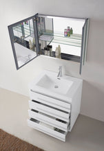 Bailey 30″ Single Bathroom Vanity in Gloss White with White Polymarble Top Square Sink and Polished Chrome Faucet with Mirror