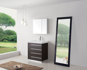 Bailey 30″ Single Bathroom Vanity in Wenge with White Polymarble Top Square Sink and Brushed Nickel Faucet with Mirror
