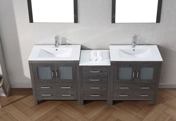 Dior 78″ Double Bathroom Vanity in Zebra Grey with Slim White Ceramic Top Integrated Square Sink and Brushed Nickel Faucet with Mirror