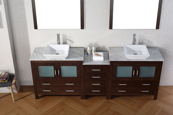 Dior 78″ Double Bathroom Vanity in Espresso with Italian Carrara White Marble Top Square Vessel Sink and Polished Chrome Faucet with Mirror