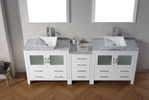 Dior 78″ Double Bathroom Vanity in White with Italian Carrara White Marble Top Square Vessel Sink and Polished Chrome Faucet with Mirror
