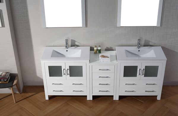 Dior 82″ Double Bathroom Vanity in White with Slim White Ceramic Top Integrated Square Sink and Brushed Nickel Faucet with Mirror