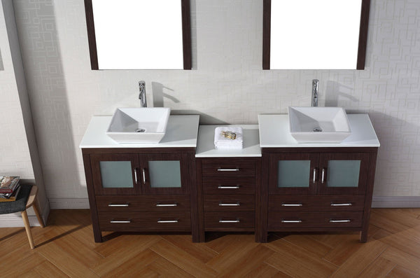 Dior 82″ Double Bathroom Vanity in Espresso with White Engineered Stone Top Square Vessel Sink and Polished Chrome Faucet with Mirror