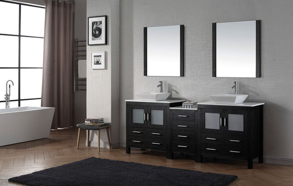 Dior 82″ Double Bathroom Vanity in Zebra Grey with White Engineered Stone Top Square Vessel Sink and Brushed Nickel Faucet with Mirror