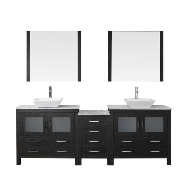Dior 82″ Double Bathroom Vanity in Zebra Grey with Italian Carrara White Marble Top Square Vessel Sink and Brushed Nickel Faucet with Mirror