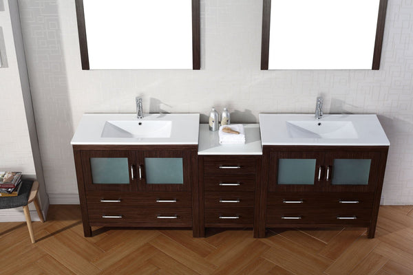 Dior 90″ Double Bathroom Vanity in Espresso with Slim White Ceramic Top Integrated Square Sink and Polished Chrome Faucet with Mirror