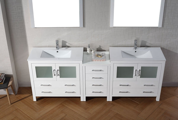 Dior 90″ Double Bathroom Vanity in White with Slim White Ceramic Top Integrated Square Sink and Brushed Nickel Faucet with Mirror