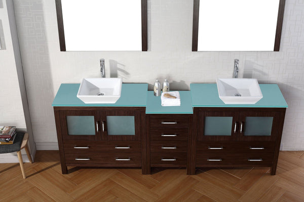 Dior 90″ Double Bathroom Vanity in Espresso with Aqua Tempered Glass Top Square Vessel Sink Brushed Nickel Faucet with Mirror