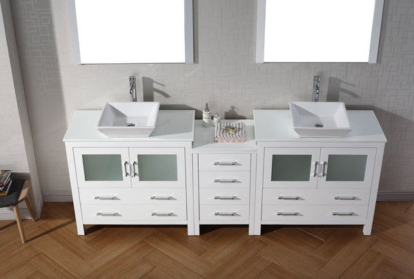 Dior 90″ Double Bathroom Vanity in White with White Engineered Stone Top Square Vessel Sink and Polished Chrome Faucet with Mirror