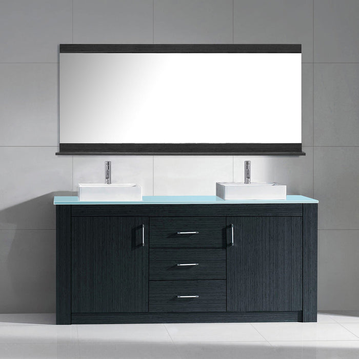 Tavian 60″ Double Bathroom Vanity in Grey with Aqua Tempered Glass Top Square Vessel Sink and Polished Chrome Faucet with Mirror