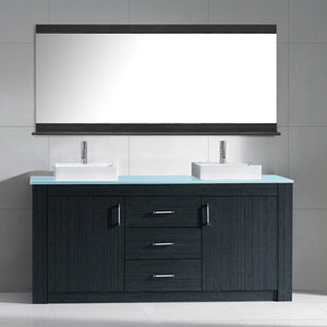 Tavian 72″ Double Bathroom Vanity in Grey with Aqua Tempered Glass Top Square Vessel Sink and Polished Chrome Faucet with Mirror