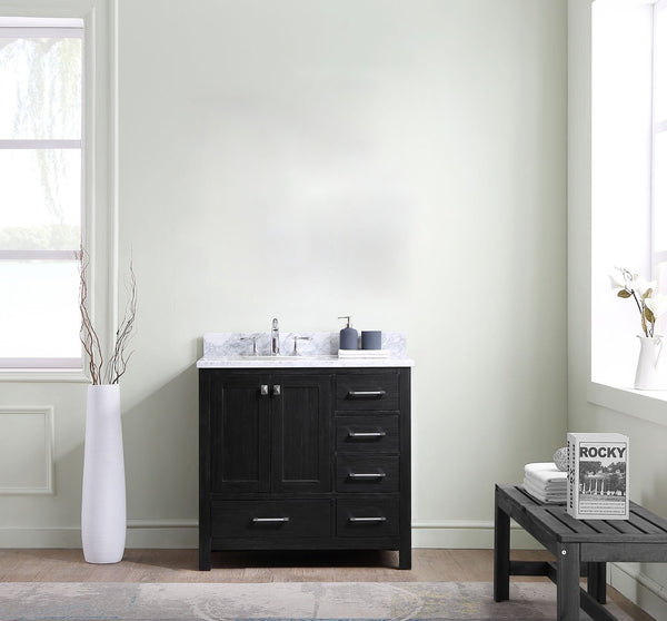 Caroline Premium 36″ Single Bathroom Vanity in Zebra Grey with Italian Carrara White Marble Top Round Sink with Mirror
