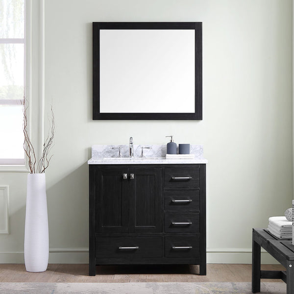Caroline Premium 36″ Single Bathroom Vanity in Zebra Grey with Italian Carrara White Marble Top Square Sink with Mirror