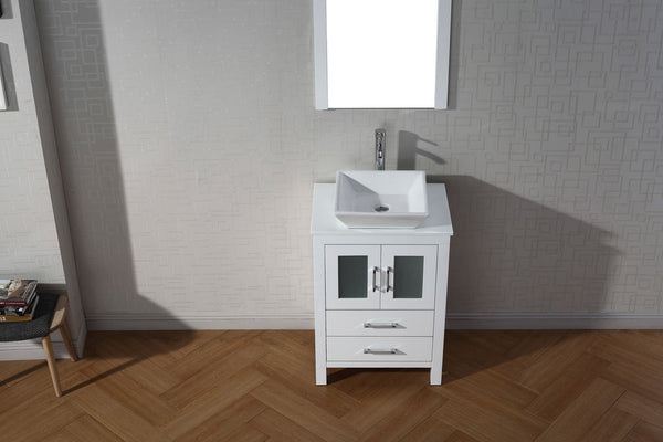 Dior 24″ Single Bathroom Vanity in White with White Engineered Stone Top Square Vessel Sink and Polished Chrome Faucet with Mirror