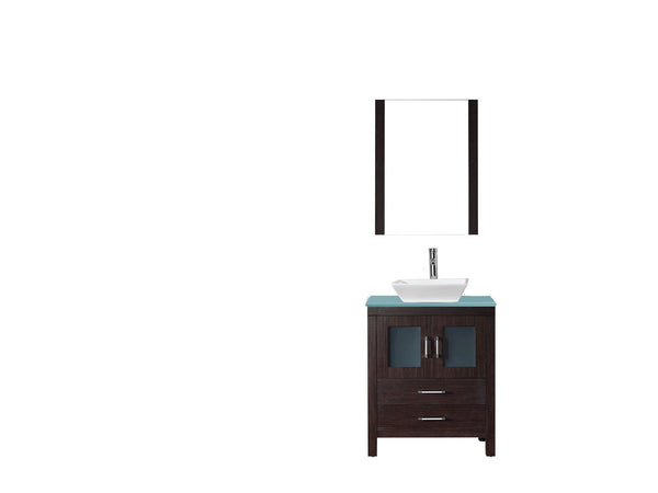 Dior 28″ Single Bathroom Vanity in Espresso with Aqua Tempered Glass Top Square Vessel Sink and Brushed Nickel Faucet with Mirrors