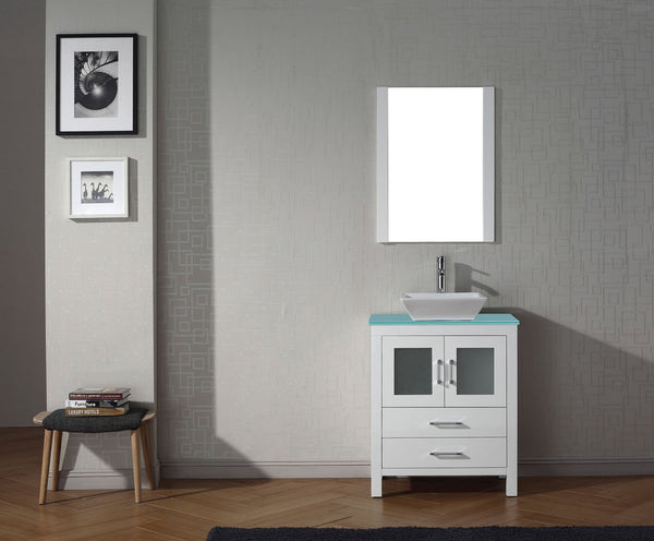 Dior 28″ Single Bathroom Vanity in White with Aqua Tempered Glass Top Square Vessel Sink and Brushed Nickel Faucet with Mirrors